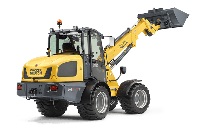 Wacker Neuson telescopic wheel loader WL60T with earth bucket studio view 1