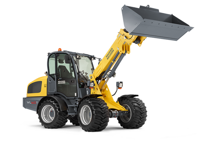 Wacker Neuson telescopic wheel loader WL60T with earth bucket studio view 2